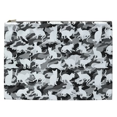 Black And White Catmouflage Camouflage Cosmetic Bag (xxl)