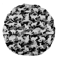 Black And White Catmouflage Camouflage Large 18  Premium Round Cushions