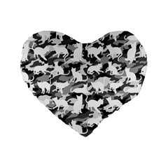 Black And White Catmouflage Camouflage Standard 16  Premium Heart Shape Cushions