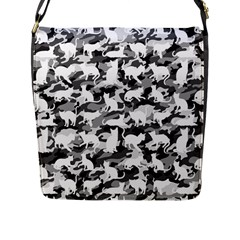 Black And White Catmouflage Camouflage Flap Messenger Bag (l)