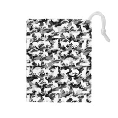 Black And White Catmouflage Camouflage Drawstring Pouches (large)