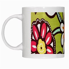 Flowers Fabrics Floral Design White Mugs