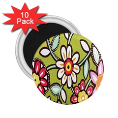 Flowers Fabrics Floral Design 2 25  Magnets (10 Pack)