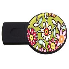 Flowers Fabrics Floral Design Usb Flash Drive Round (2 Gb)