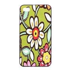 Flowers Fabrics Floral Design Apple Iphone 4/4s Seamless Case (black)