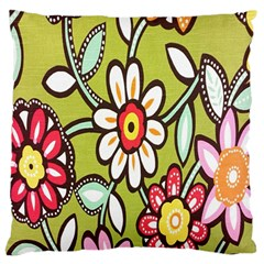Flowers Fabrics Floral Design Large Cushion Case (two Sides)