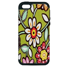 Flowers Fabrics Floral Design Apple Iphone 5 Hardshell Case (pc+silicone)