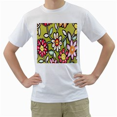 Flowers Fabrics Floral Design Men s T Shirt (white)