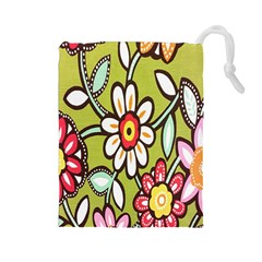 Flowers Fabrics Floral Design Drawstring Pouches (large)