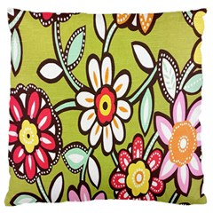Flowers Fabrics Floral Design Large Flano Cushion Case (one Side)