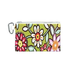 Flowers Fabrics Floral Design Canvas Cosmetic Bag (s)