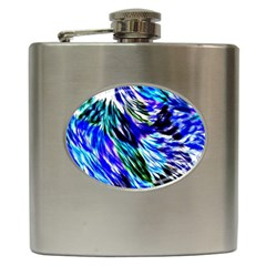 Abstract Background Blue White Hip Flask (6 Oz)