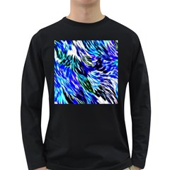 Abstract Background Blue White Long Sleeve Dark T Shirts