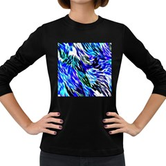 Abstract Background Blue White Women s Long Sleeve Dark T Shirts