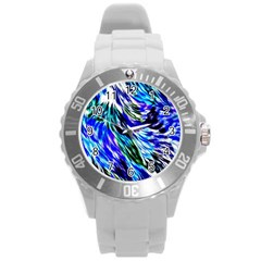 Abstract Background Blue White Round Plastic Sport Watch (l)
