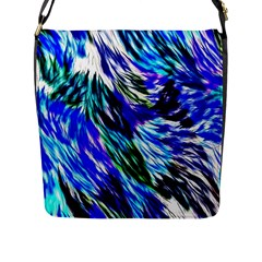 Abstract Background Blue White Flap Messenger Bag (l)