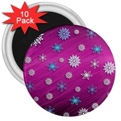 Snowflakes 3d Random Overlay 3  Magnets (10 Pack)