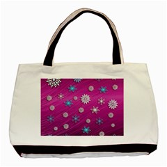 Snowflakes 3d Random Overlay Basic Tote Bag (two Sides)