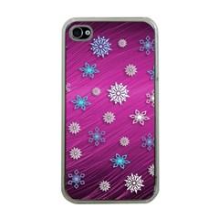 Snowflakes 3d Random Overlay Apple Iphone 4 Case (clear)
