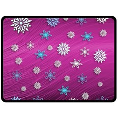 Snowflakes 3d Random Overlay Double Sided Fleece Blanket (large)