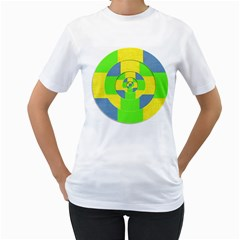 Fabric 3d Geometric Circles Lime Women s T Shirt (white) (two Sided)