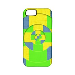 Fabric 3d Geometric Circles Lime Apple Iphone 5 Classic Hardshell Case (pc+silicone)