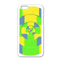 Fabric 3d Geometric Circles Lime Apple Iphone 6/6s White Enamel Case