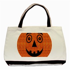 Fabric Halloween Pumpkin Funny Basic Tote Bag (two Sides)