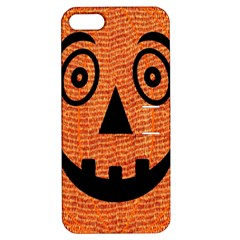 Fabric Halloween Pumpkin Funny Apple Iphone 5 Hardshell Case With Stand