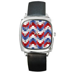 Texture Textile Surface Fabric Square Metal Watch