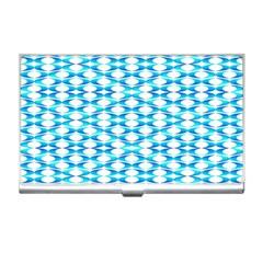 Fabric Geometric Aqua Crescents Business Card Holders
