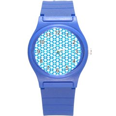 Fabric Geometric Aqua Crescents Round Plastic Sport Watch (s)