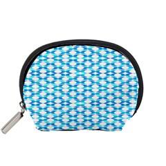 Fabric Geometric Aqua Crescents Accessory Pouches (small)