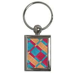 Fabric Textile Cloth Material Key Chains (rectangle)