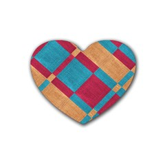 Fabric Textile Cloth Material Rubber Coaster (heart)