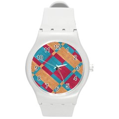 Fabric Textile Cloth Material Round Plastic Sport Watch (m)