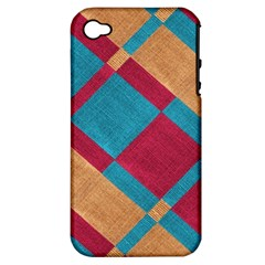 Fabric Textile Cloth Material Apple Iphone 4/4s Hardshell Case (pc+silicone)