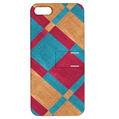 Fabric Textile Cloth Material Apple Iphone 5 Hardshell Case With Stand