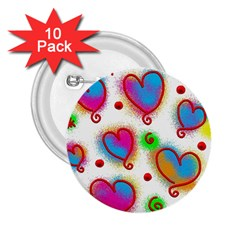 Love Hearts Shapes Doodle Art 2 25  Buttons (10 Pack)