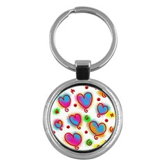 Love Hearts Shapes Doodle Art Key Chains (round)