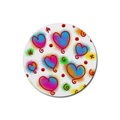 Love Hearts Shapes Doodle Art Rubber Round Coaster (4 Pack)
