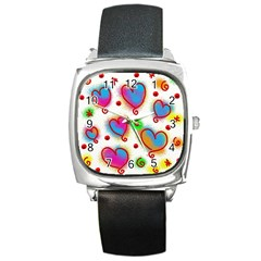 Love Hearts Shapes Doodle Art Square Metal Watch