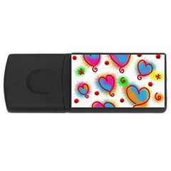 Love Hearts Shapes Doodle Art Rectangular Usb Flash Drive