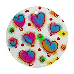 Love Hearts Shapes Doodle Art Round Ornament (two Sides)