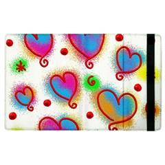 Love Hearts Shapes Doodle Art Apple Ipad 2 Flip Case