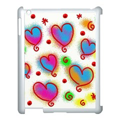 Love Hearts Shapes Doodle Art Apple Ipad 3/4 Case (white)