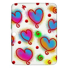 Love Hearts Shapes Doodle Art Samsung Galaxy Tab 3 (10 1 ) P5200 Hardshell Case