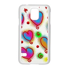 Love Hearts Shapes Doodle Art Samsung Galaxy S5 Case (white)