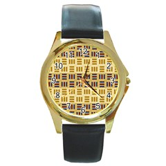 Textile Texture Fabric Material Round Gold Metal Watch