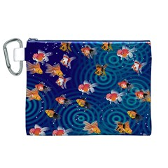 Fish Swim In The Ocean Canvas Cosmetic Bag (xl)